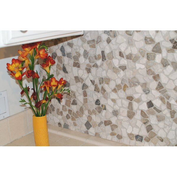 Mini Fit 11.75 x 11.75 Natural Stone Pebbles Tile in Beige by Pebble Tile