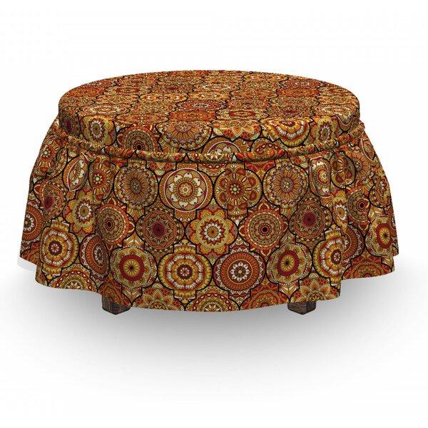 Moroccan Floral Motifs Ottoman 2 Piece Box Cushion Ottoman Slipcover Set By East Urban Home