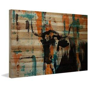 'Orange Teal Steer' by Parvez Taj Painting Print on Natural Pine Wood by Parvez Taj