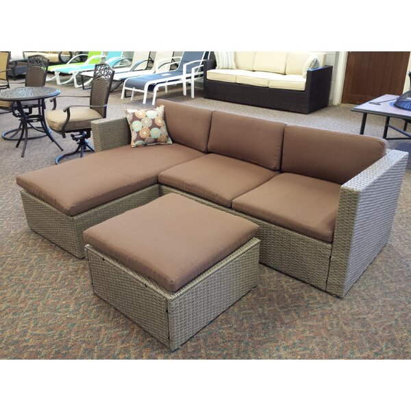 Zeba Patio Sectional Piece with Cushions by Bayou Breeze