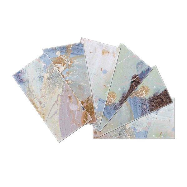 Crystal Skin 3 x 6 Glass Subway Tile in Brown/Blue by SkinnyTile