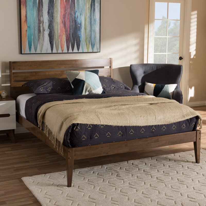 Mid Century Modern Bed: Union Rustic Deshmukh Mid-Century Modern King Size