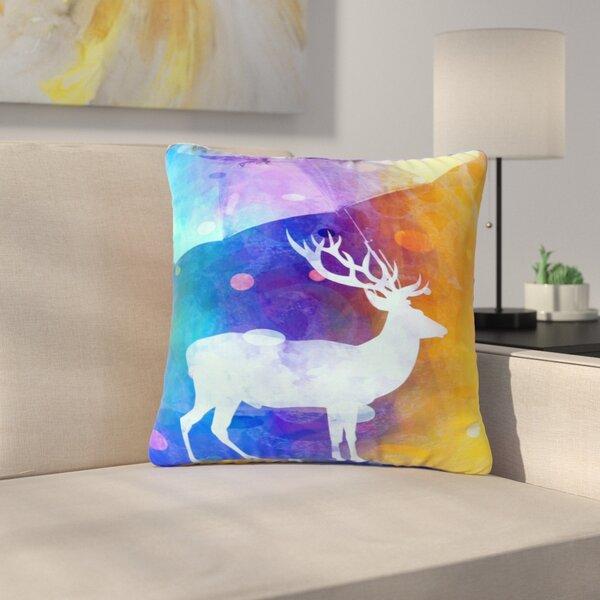AlyZen Moonshadow Rain Deer Outdoor Throw Pillow by East Urban Home