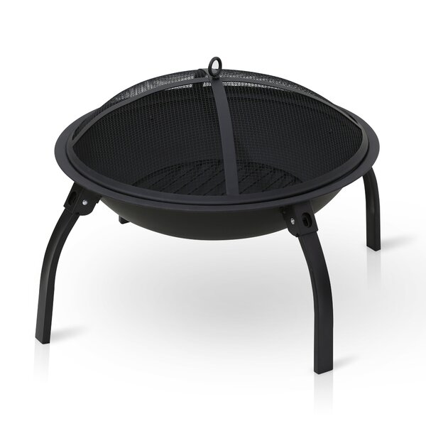 Outdoor Steel Wood Burning Fire Pit with Foldable Leg by Furinno