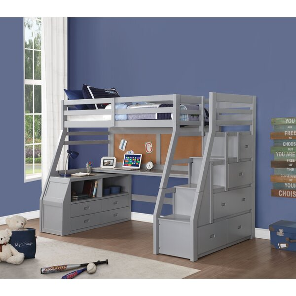Jeramiah Twin Loft Bed with Shelves and Drawers by Zoomie Kids