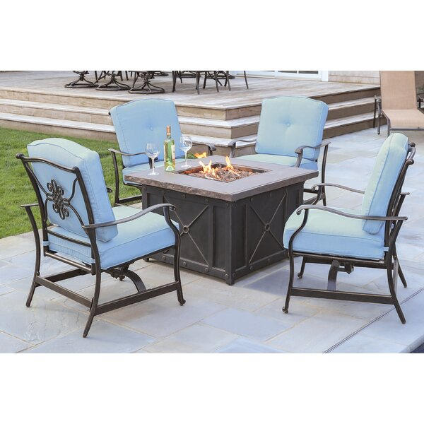 Rhonda 5-Piece Fire Pit Patio Set with 4 Cushioned Rockers in Blue and 40,000 BTU Propane Gas Fire Pit by Fleur De Lis Living