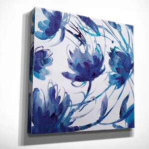 'Indigo Swirl II' by Theresa Troise Heidel Painting Print on Wrapped Canvas by Wexford Home