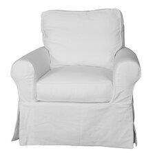 Callie Slipcovered Swivel Armchair by August Grove