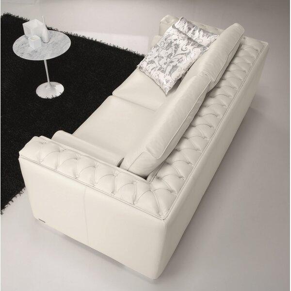 Dunlin Leather Sofa by Rosdorf Park
