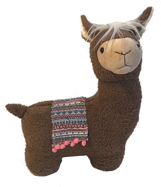 Weighted Door Stop Alpaca Llama Design Tan or Grey Fabric NEW