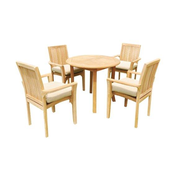 Massie 5 Piece Teak Dining Set by Rosecliff Heights
