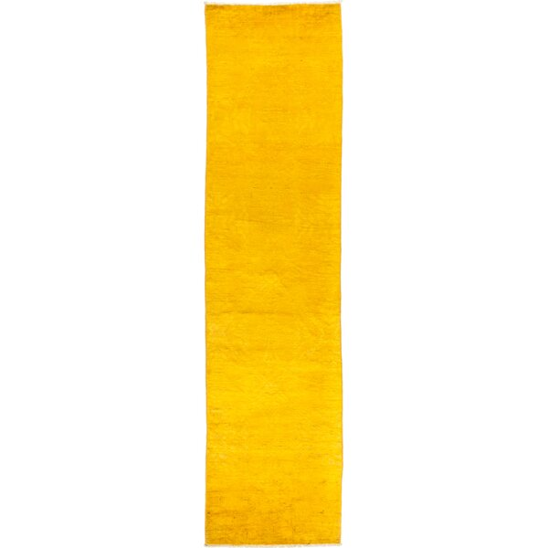 One-of-a-Kind Courter Hand Knotted Wool Yellow Area Rug by Bungalow Rose