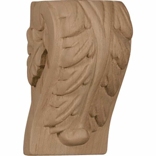 Acanthus 3H x 1 3/4W x 1 1/2D Mini Leaf Block Corbel in Red Oak by Ekena Millwork