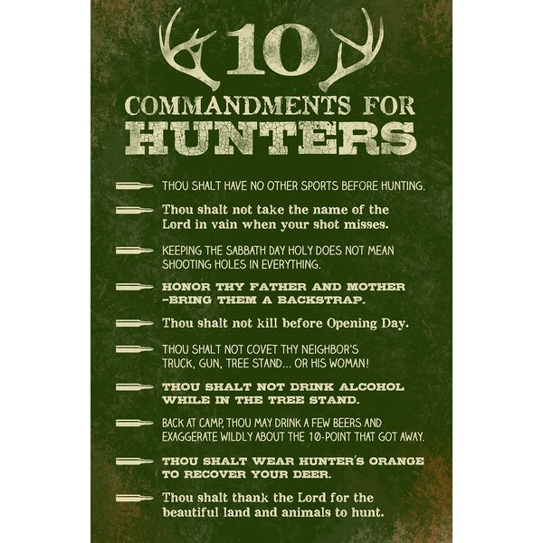 10 Commandments For Hunter Textual Art by Reflective Art