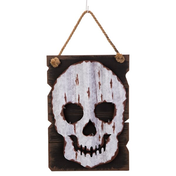 LED Wooden/Iron Skull Head Wall Decor by Glitzhome