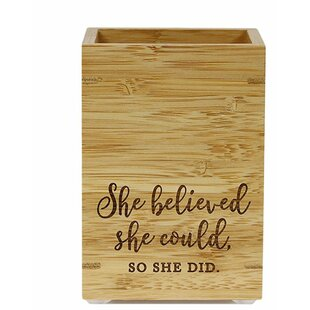 Review She Believed She Could So She Did Bamboo Wooden Pen Holder by Koyal Wholesale