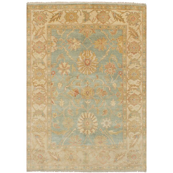 One-of-a-Kind Bassford Traditional Hand-Knotted Wool Light Blue/Beige Area Rug by Darby Home Co