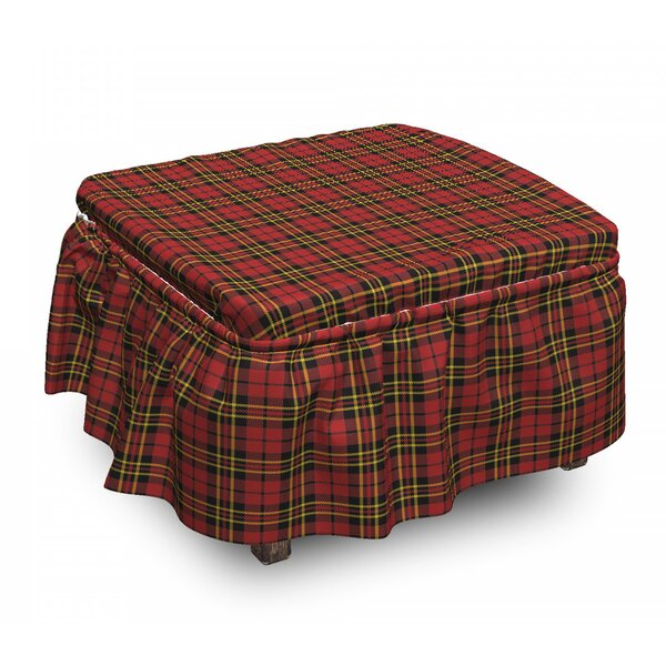Checkered Old Celtic British 2 Piece Box Cushion Ottoman Slipcover Set By East Urban Home