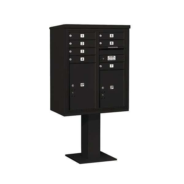 Pedestal Mounted 7 Units 10 Door 4C Horizontal Cluster Box Unit with 2 Parcel Lockers by Salsbury Industries