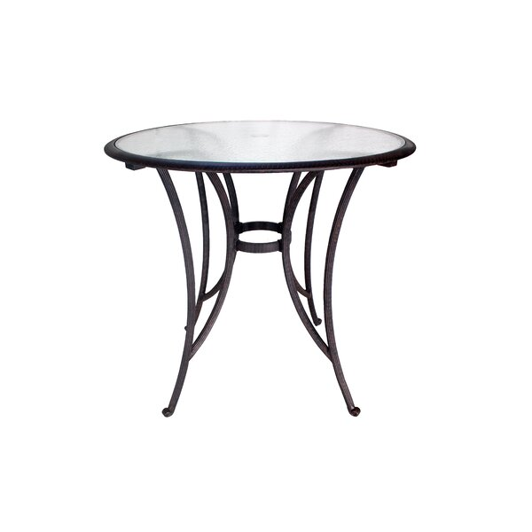 Blanca Glass Top Aluminum Bar Table by Ebern Designs