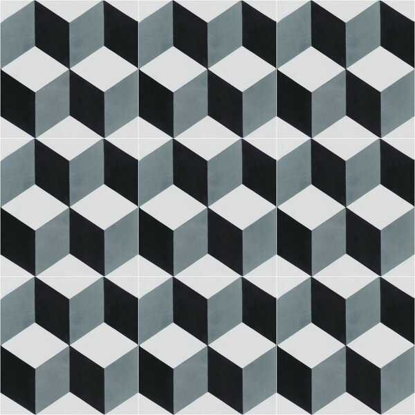 Cubes A Mountain 8 x 8 Cement Field Tile in Blue/Gray/White by Villa Lagoon Tile