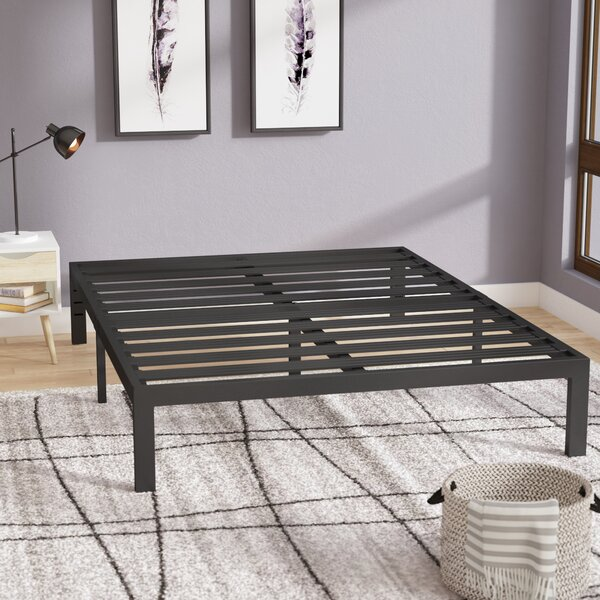 Branson Black Metal Platform Bed Frame by Latitude Run