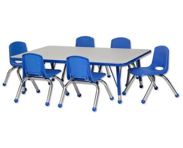 7 Piece Rectangular Activity Table & 12 Chair Set by ECR4kids