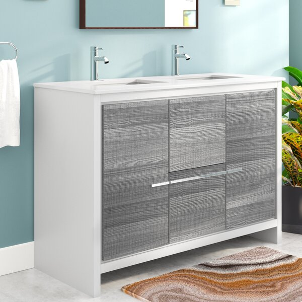 Bosley 48 Double Sink Modern Bathroom Vanity by Me