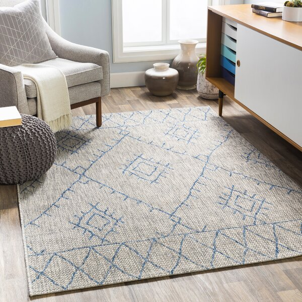Gunter Bohemian Khaki/Blue Indoor/Outdoor Area Rug by Union Rustic