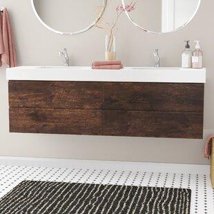 sinope 71 wall mounted double bathroom vanity set - Mid Century Bathroom Vanity