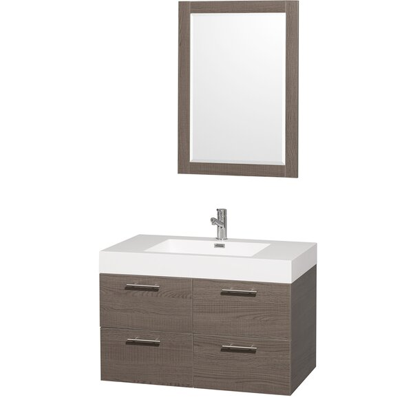 Amare 35 Single Gray Oak Bathroom Vanity Set with Mirror by Wyndham Collection