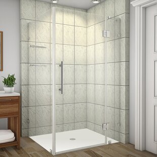 Avalux GS 42 x 32 x 72 Completely Frameless Hinged Shower Enclosure with Glass Shelves