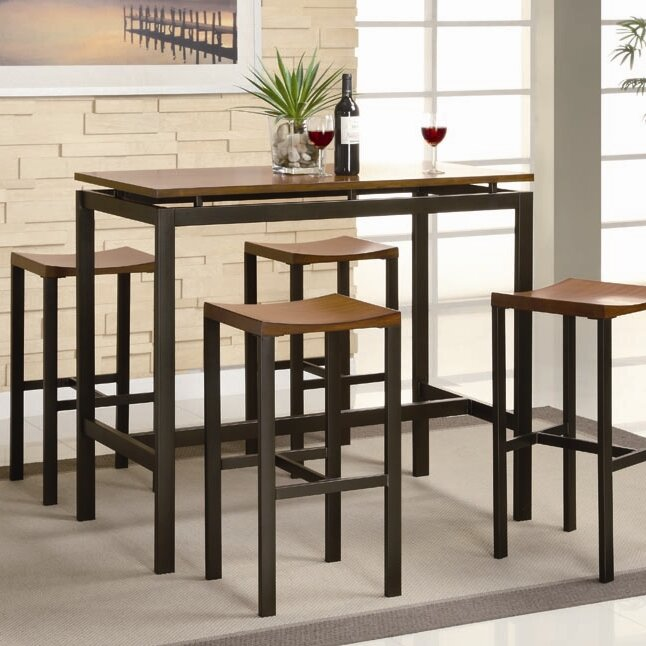 Swigart 5 Piece Pub Table Set & Brayden Studio Swigart 5 Piece Pub Table Set u0026 Reviews | Wayfair
