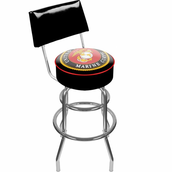 United States Marine Corps 31 Swivel Bar Stool by Trademark Global