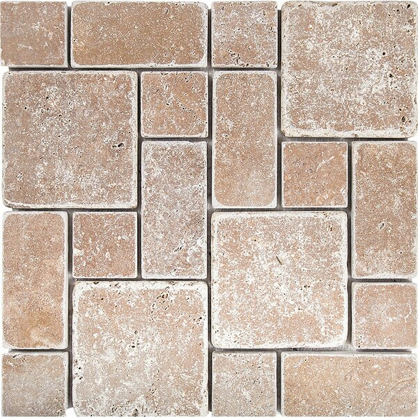 Roman Pattern Tumbled Random Sized Stone Mosaic Tile in Noce by Parvatile