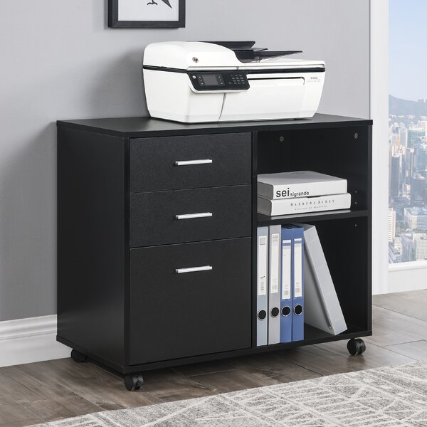 Home and Office 3-Drawer Mobile Lateral Filing Cabinet