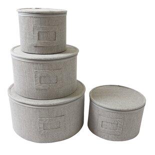 4 Piece Round Plate Storage Case Set