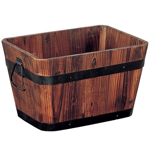 Wood Barrel Planter by Organize It All