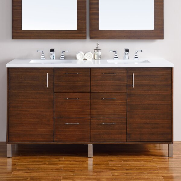Cordie 60 Double American Walnut Hardwood Base Bathroom Vanity Set by Orren Ellis