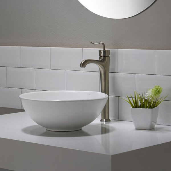 Elavo Ceramic Circular Vessel Bathroom Sink by Kraus