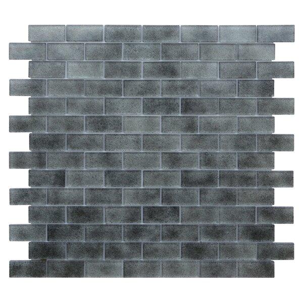 Quartz 0.75 x 1.63 Glass Mosaic Tile in Light/Dark Gray by Kellani