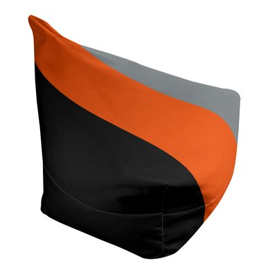 "Classic Bean Bag East Urban Home Fabric: Black/Orange/Silver, Size: 30"" H x 27"" W x 27"" D"