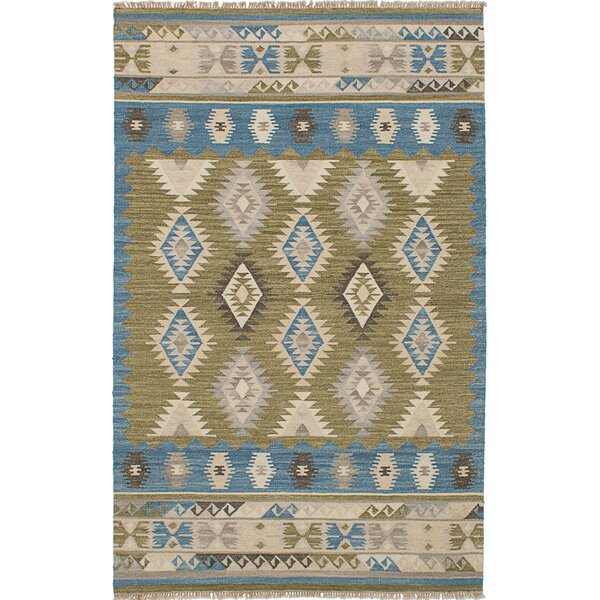 Pavlatka Kilim Hand-Woven Wool Olive/Blue Area Rug by Loon Peak