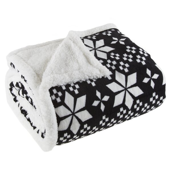 Snowflakes Sherpa Fleece Throw Blanket by Lavish Home