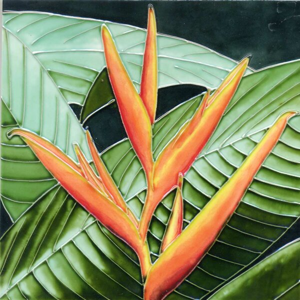 Orange Bird of Paradise Tile Wall Decor by Continental Art Center
