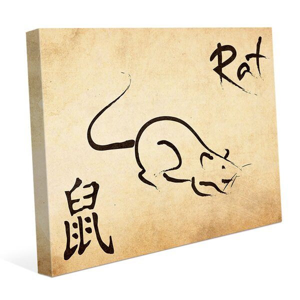 Chinese Zodiac Rat Paper Graphic Art on Wrapped Canvas by Click Wall Art