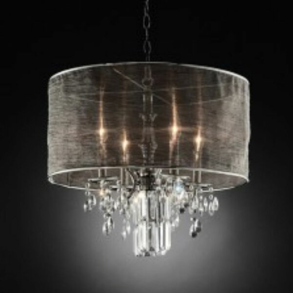 Metzger Unique Drum Chandelier With Crystal Accents By Rosdorf Park
