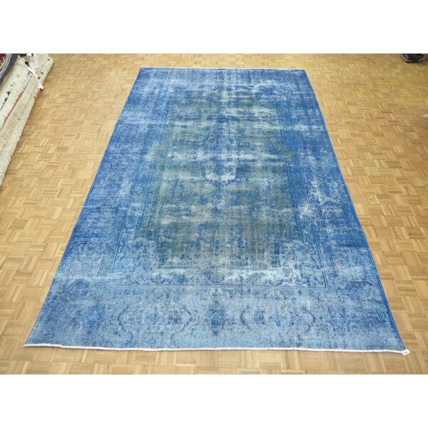 One-of-a-Kind Padro Kerman Hand-Knotted Sky Blue Area Rug by Bloomsbury Market