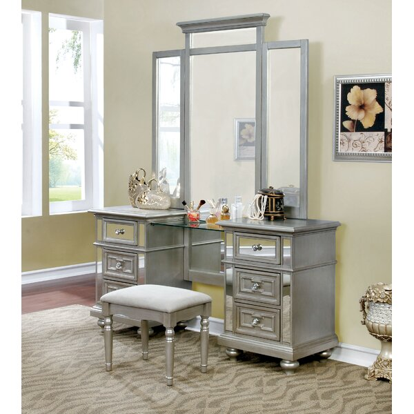 Jaycee Vanity Set with Mirror by Rosdorf Park