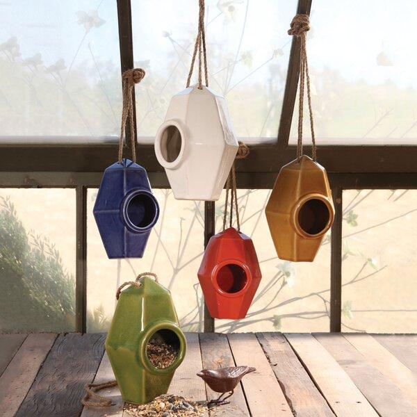 Perch Ceramic 8 in x 5.5 in x 5.5 in Birdhouse by HomArt
